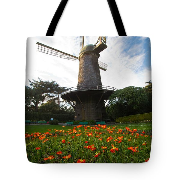 Windmill And Poppies Tote Bag