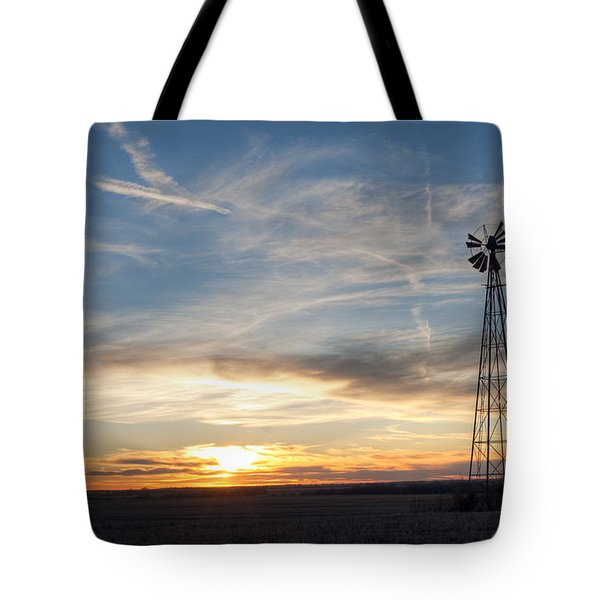 Windmill And Sunset Tote Bag
