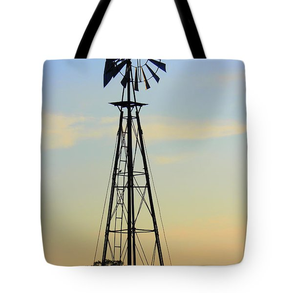 Tote Bag featuring the photograph Windmill At Dusk by Kathy  White