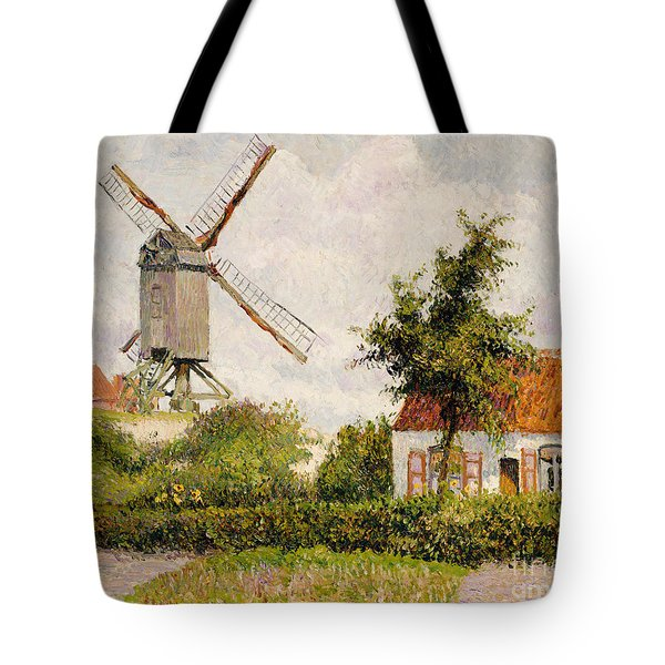 Windmill At Knokke Tote Bag by Camille Pissarro