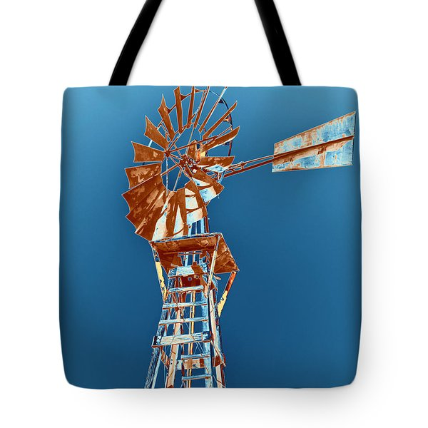Windmill Rust Orange With Blue Sky Tote Bag by Rebecca Margraf
