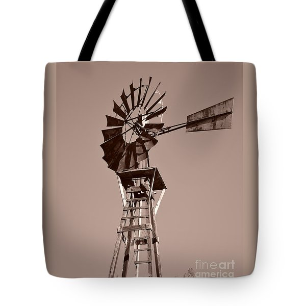 Windmill Sepia Tote Bag by Rebecca Margraf