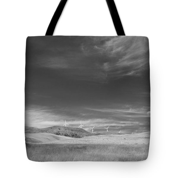 Tote Bag featuring the photograph Windmills In The Distant Hills by Kathleen Grace