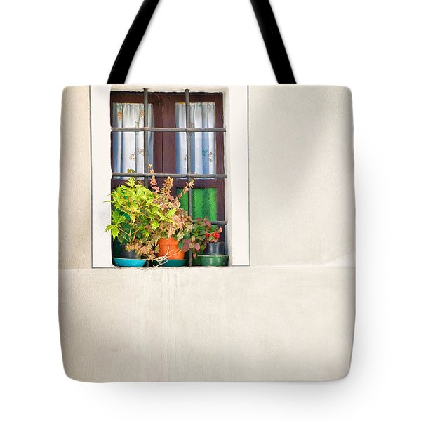 Window With White Frame And Vases Tote Bag by Silvia Ganora