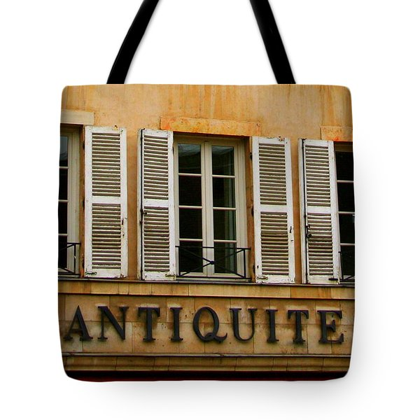 Tote Bag featuring the photograph Windows Of Antiquites by Laurel Talabere