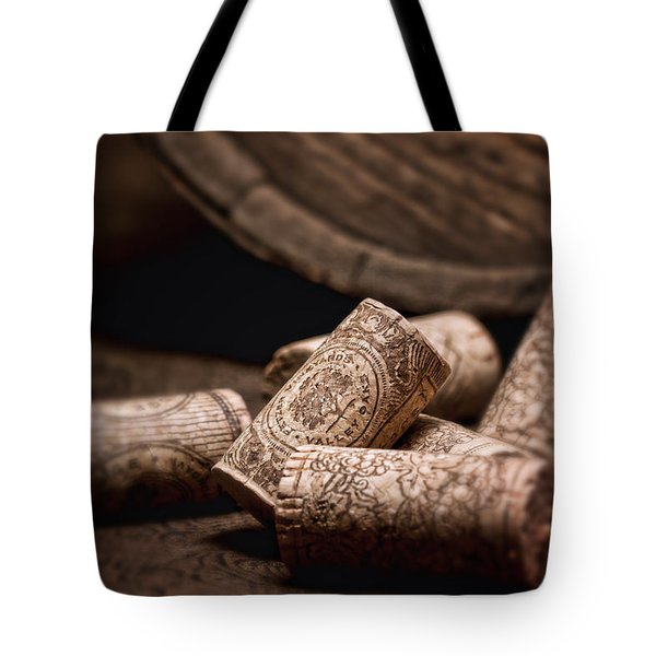 Wine Corks And Barrel Still Life Tote Bag by Tom Mc Nemar