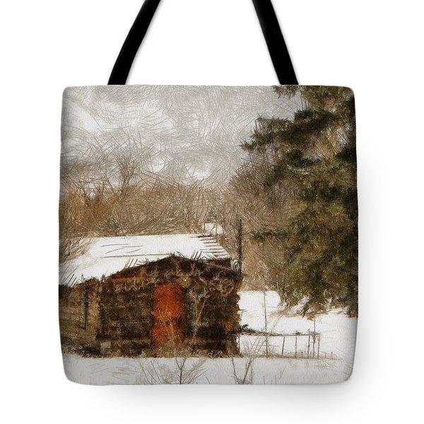 Winter Cabin 2 Tote Bag by Ernie Echols