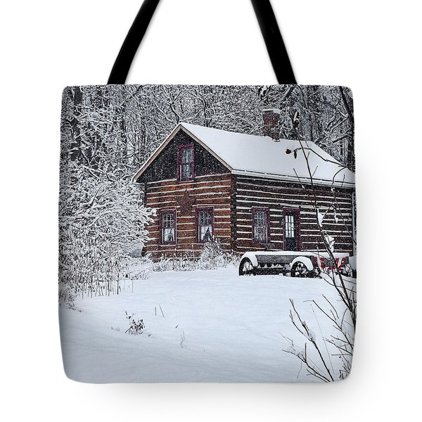 Tote Bag featuring the photograph Winter Cabin by Judy  Johnson