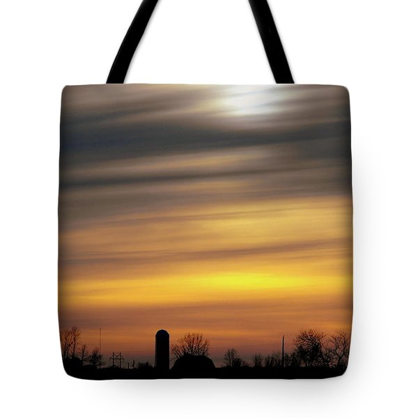 Winter Farm Sunset Tote Bag