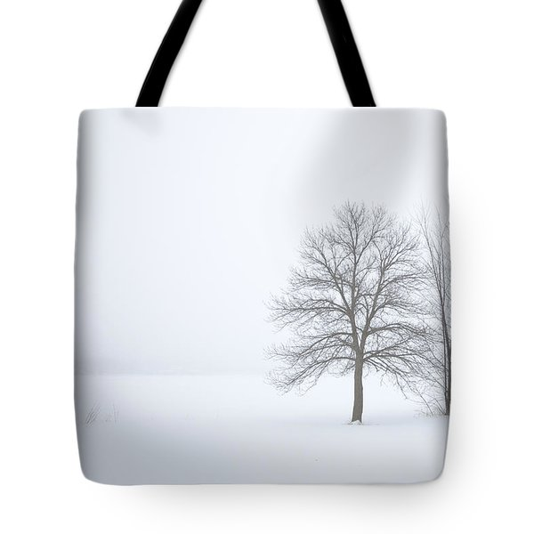 Winter Fog And Trees Tote Bag