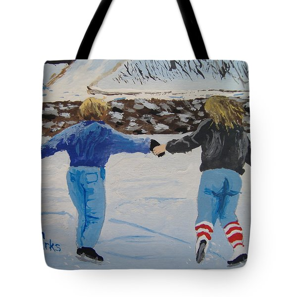 Tote Bag featuring the painting Winter Fun by Norm Starks