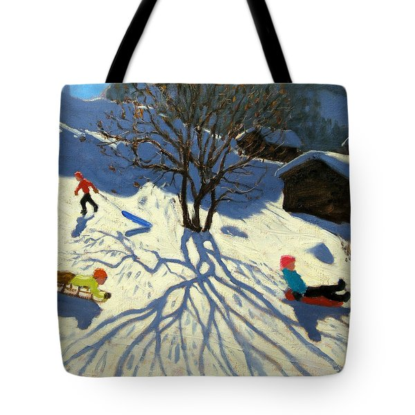 Winter Hillside Morzine France Tote Bag by Andrew Macara