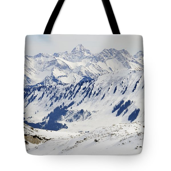 Winter In The Alps - Snow Covered Mountains Tote Bag by Matthias Hauser