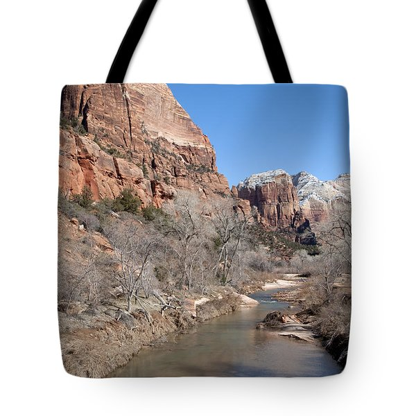 Tote Bag featuring the photograph Winter In Zion 2 by Bob and Nancy Kendrick