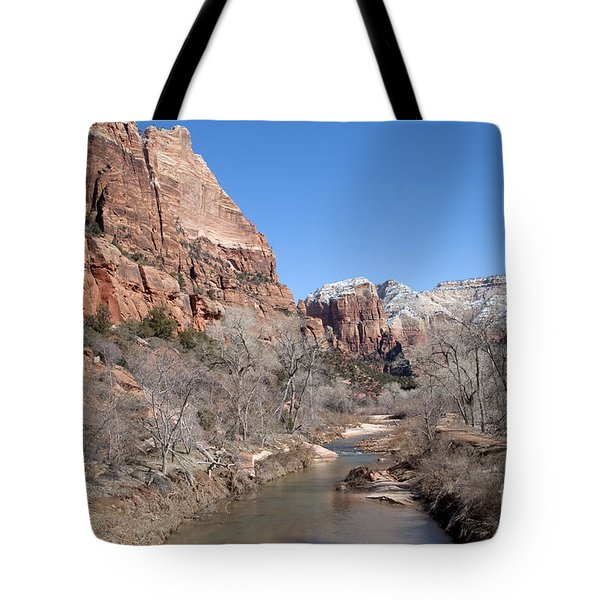 Tote Bag featuring the photograph Winter In Zion by Bob and Nancy Kendrick