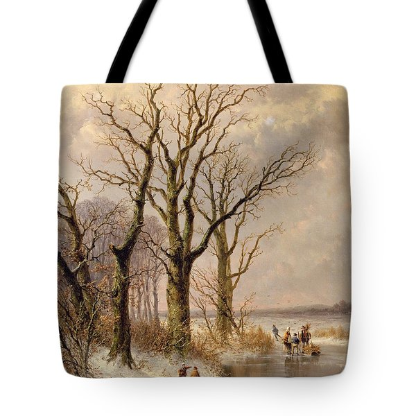 Winter Landscape With Faggot Gatherers Conversing On A Frozen Lake Tote Bag by Josephus Gerardus Hans