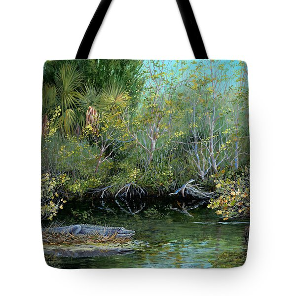 Tote Bag featuring the painting Winter Leaves by AnnaJo Vahle