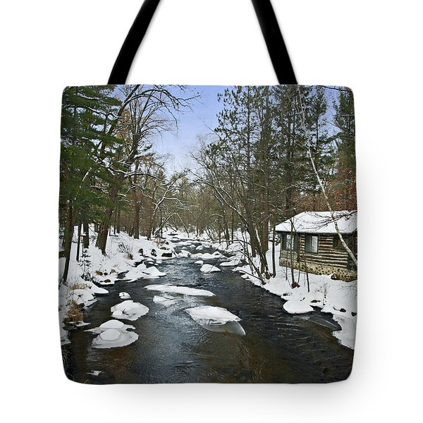 Tote Bag featuring the photograph Winter Saxeville Log Cabin by Judy  Johnson
