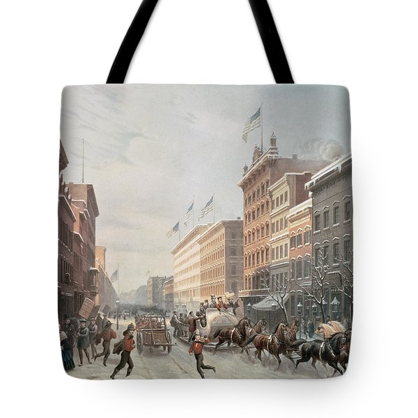 Winter Scene On Broadway Tote Bag by American School