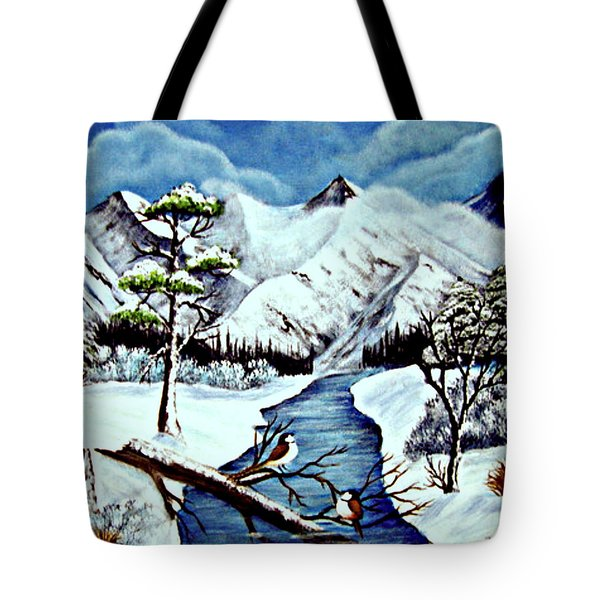 Tote Bag featuring the painting Winter Serenity by Fram Cama