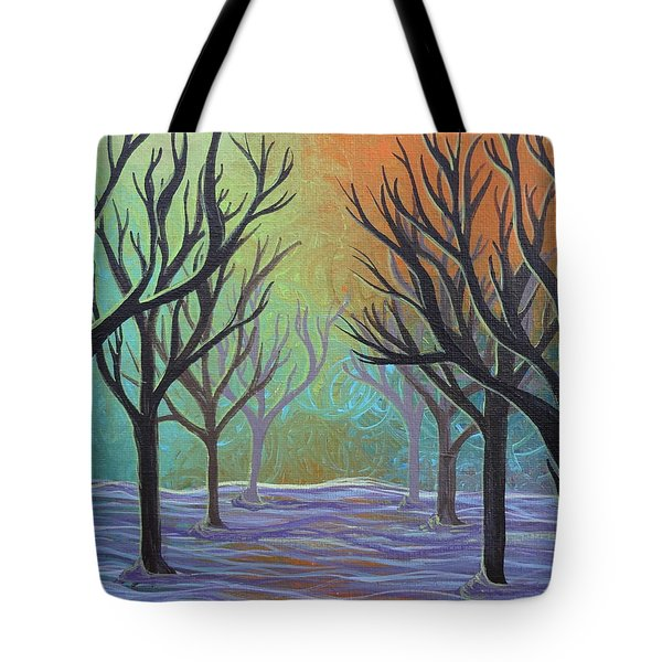 Tote Bag featuring the painting Winter Solitude 11 by Jacqueline Athmann