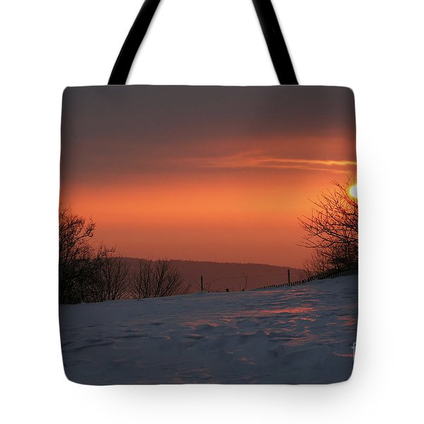 Winter Sunset Tote Bag by Michal Boubin