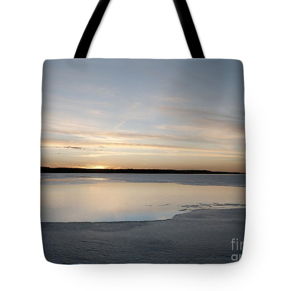 Winter Sunset Over Lake Tote Bag