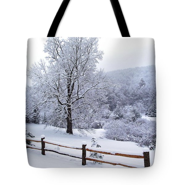 Winter Tree And Fence In The Valley Tote Bag