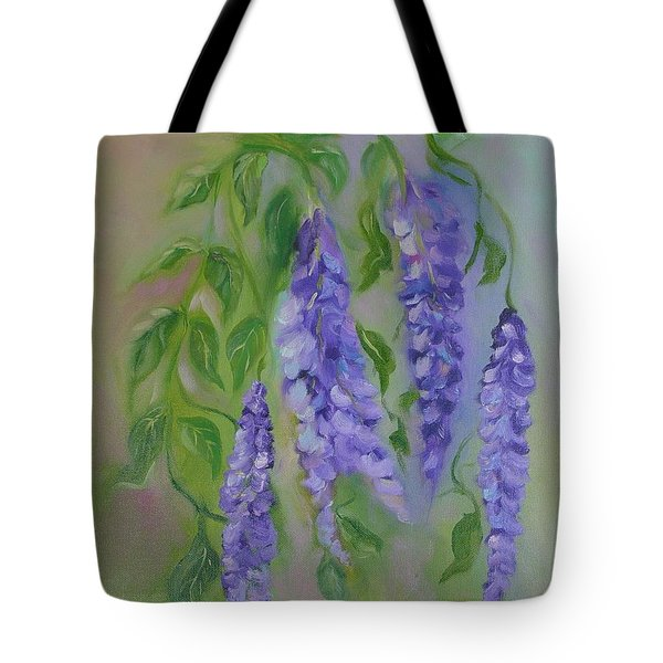 Tote Bag featuring the painting Wisteria by Carol Berning