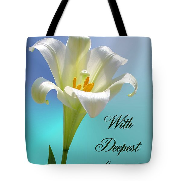 With Deepest Sympathy Tote Bag by Kristin Elmquist