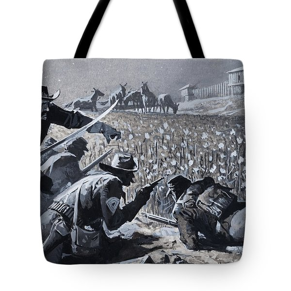 With His Men Concealed Fetterman Waited For The Marauding Indians Tote Bag by Severino Baraldi