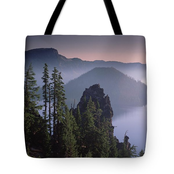Wizard Island In The Center Of Crater Tote Bag by Tim Fitzharris