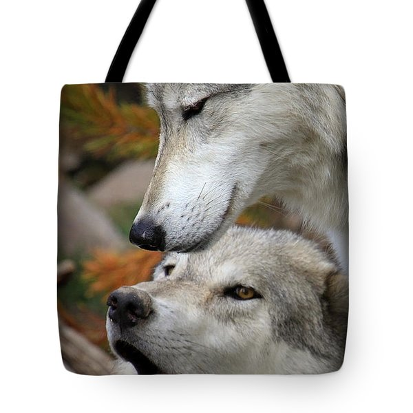 Tote Bag featuring the photograph Wolf Talk by Steve McKinzie