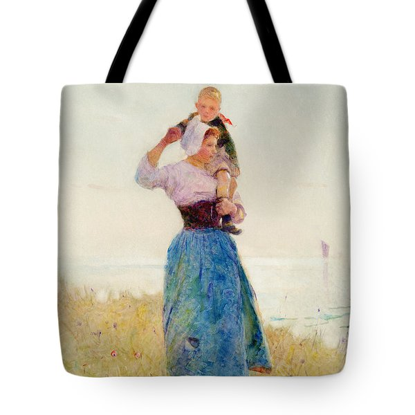 Woman And Child In A Meadow Tote Bag by Hector Caffieri