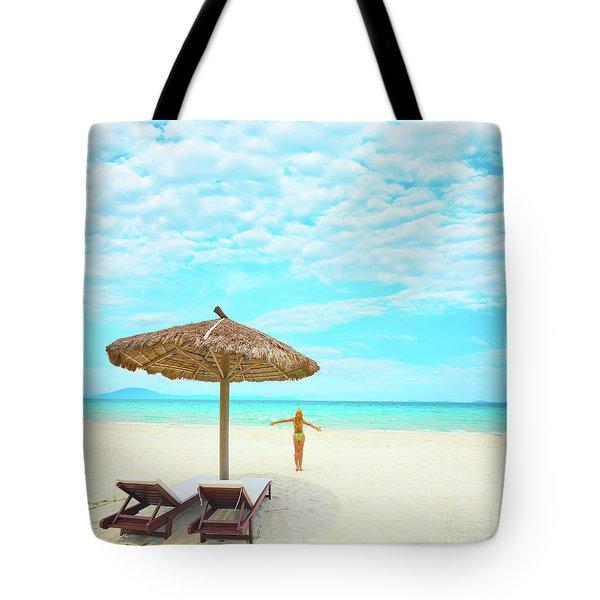 Woman Enjoy Sun Tote Bag by MotHaiBaPhoto Prints
