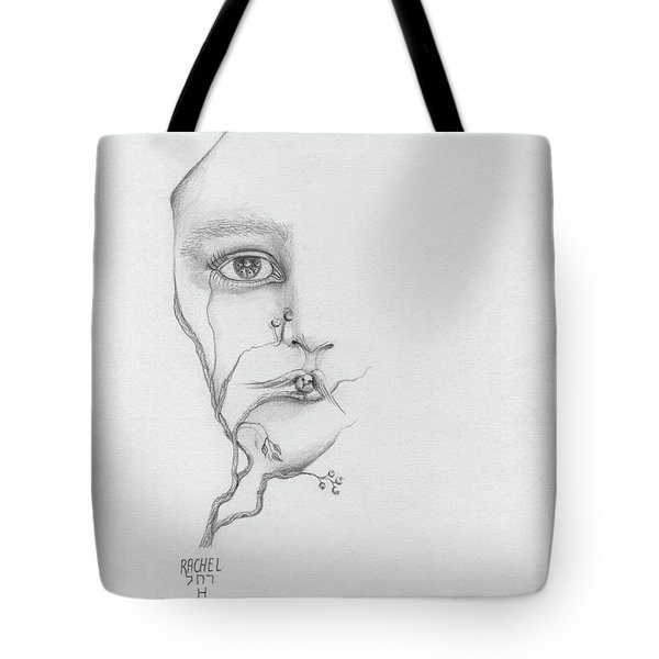 Woman Face Growing Out Of A Tree Branch Black And White Surrealistic Fantasy  Tote Bag by Rachel Hershkovitz