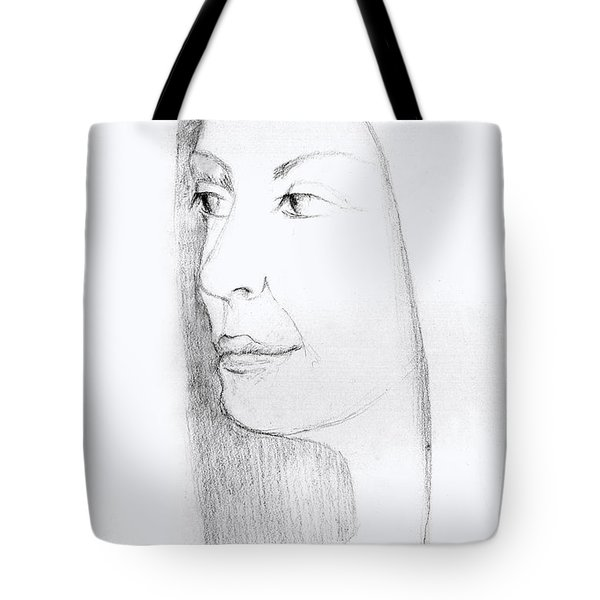 Woman In Black And White Long Hair Red Lips And Shoulders  Tote Bag by Rachel Hershkovitz