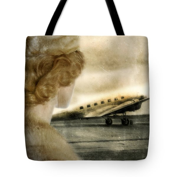 Woman In Fur By A Vintage Airplane Tote Bag by Jill Battaglia