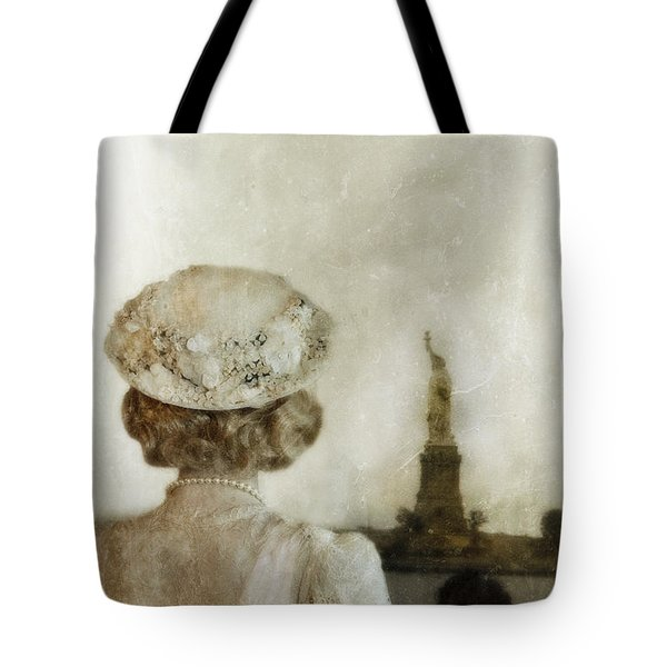 Woman In Hat Viewing The Statue Of Liberty  Tote Bag by Jill Battaglia