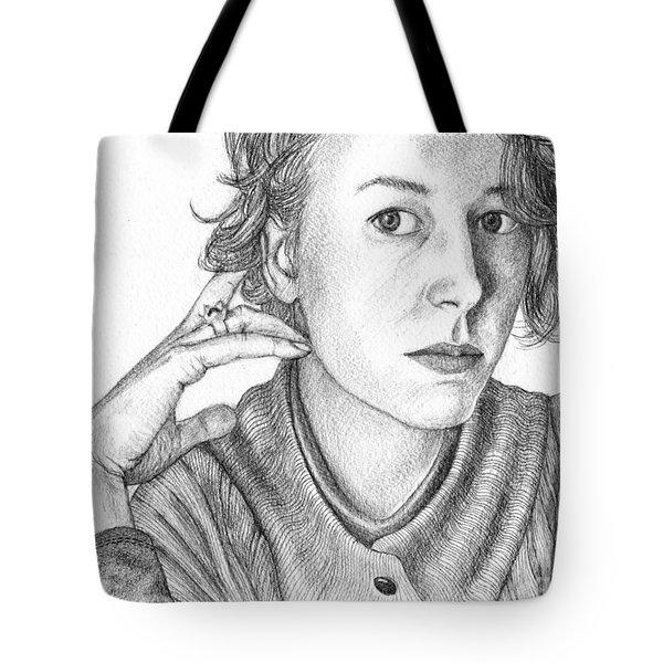 Woman In Sweater Tote Bag