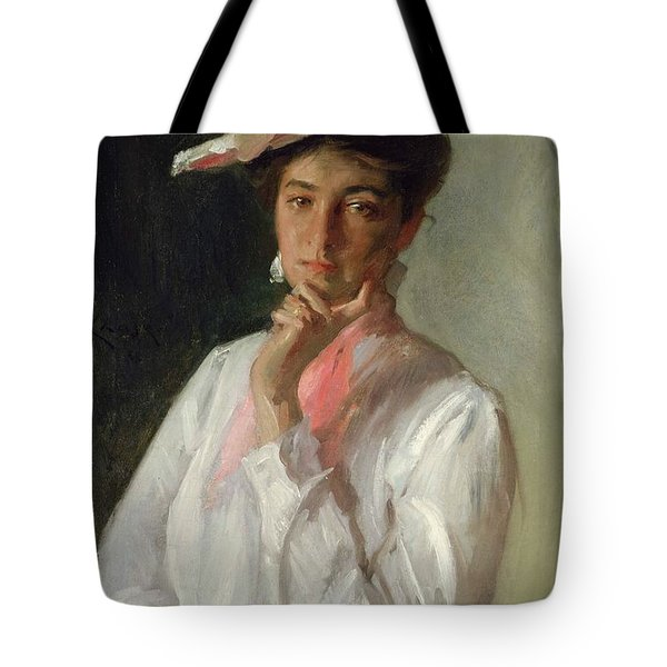 Woman In White Tote Bag by William Merritt Chase