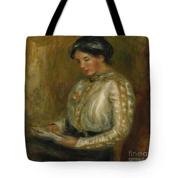 Woman Reading  Tote Bag by Pierre Auguste Renoir
