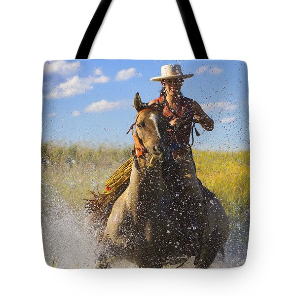 Woman Riding A Horse Tote Bag by Richard Wear