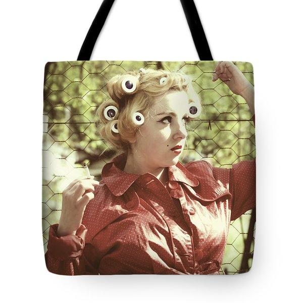 Woman With Rain Coat And Curlers Tote Bag by Joana Kruse