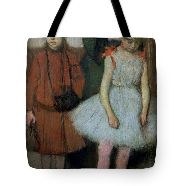 Woman With Two Little Girls Tote Bag by Edgar Degas