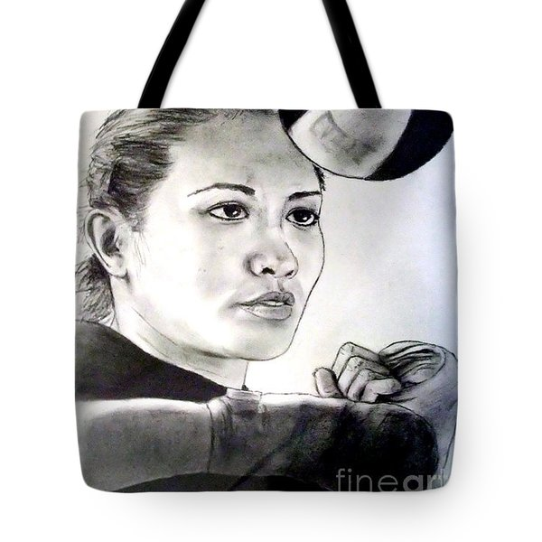 Tote Bag featuring the drawing Woman's Boxing Champion Filipino American Ana Julaton by Jim Fitzpatrick