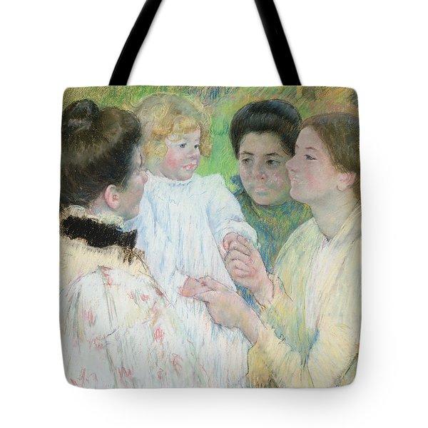 Women Admiring A Child Tote Bag by Mary Stevenson Cassatt