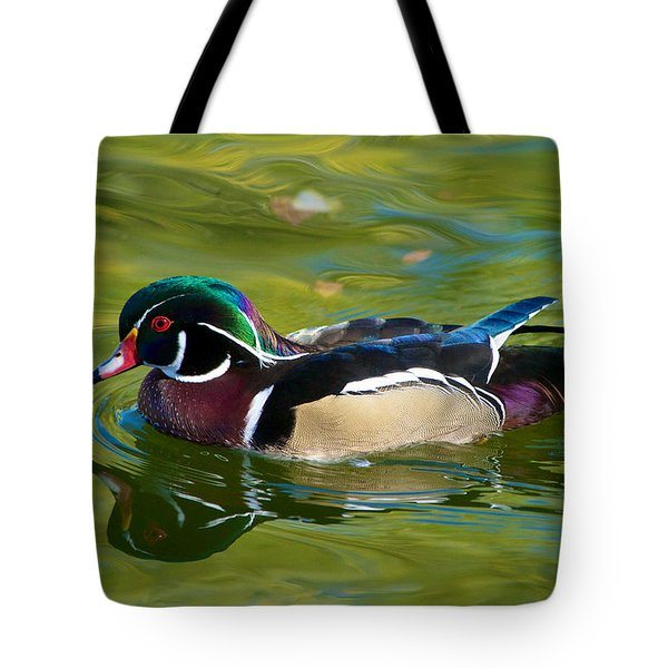 Wood Duck At Sterne Park Lake Tote Bag by Stephen  Johnson