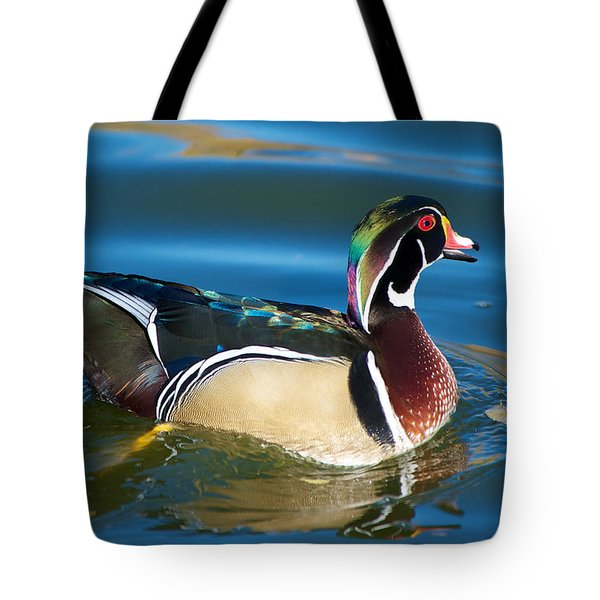 Wood Duck Morning Tote Bag by Stephen  Johnson