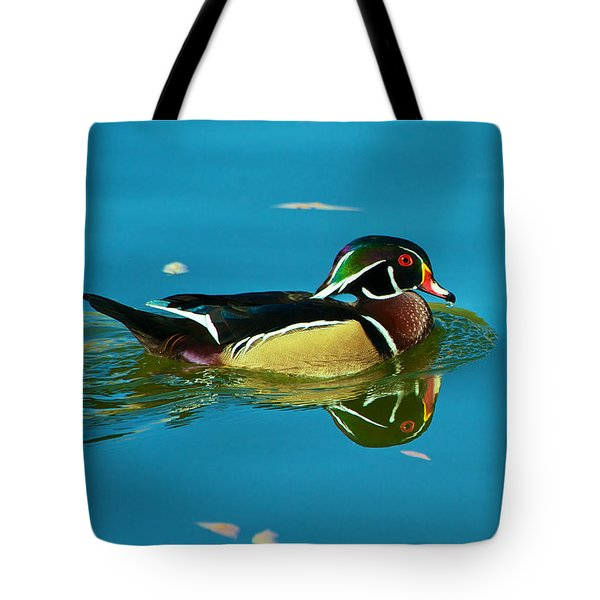 Wood Duck Reflections Tote Bag by Stephen  Johnson